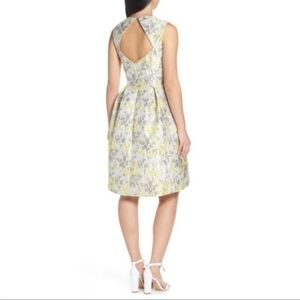 Eliza J Dresses - Eliza J | Fit flare yellow silver jacquard dress 4